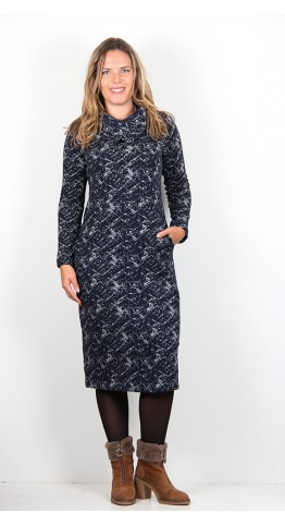 Capri Clothing Pollock Cowl Dress Navy