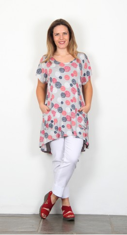 Capri Clothing Ravenna Print Tunic Raspberry
