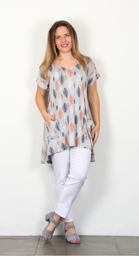Capri Clothing Esther Print Tunic Peach