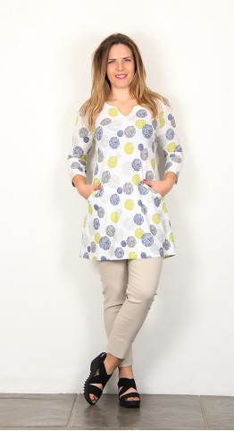 Capri Clothing Chevron Spot Tunic Lime