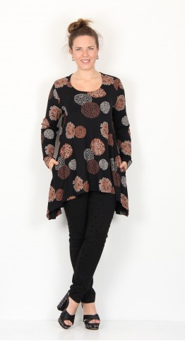 Capri Clothing Button Tunic Allium Print Copper