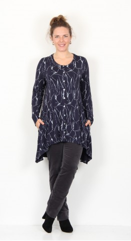 Capri Clothing Button Cardi/Tunic Crackle Print Navy Grey