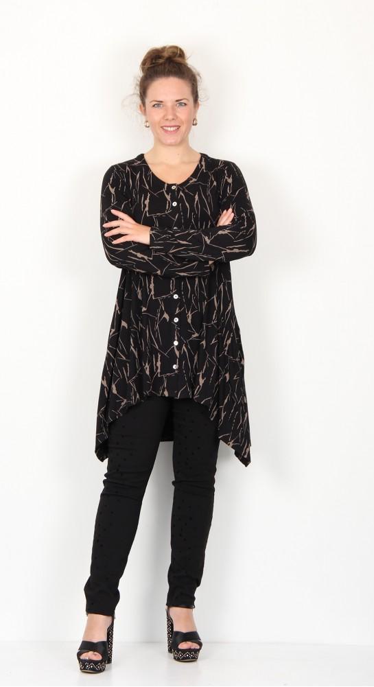Capri Clothing Button Cardi/Tunic Crackle Print Taupe Black