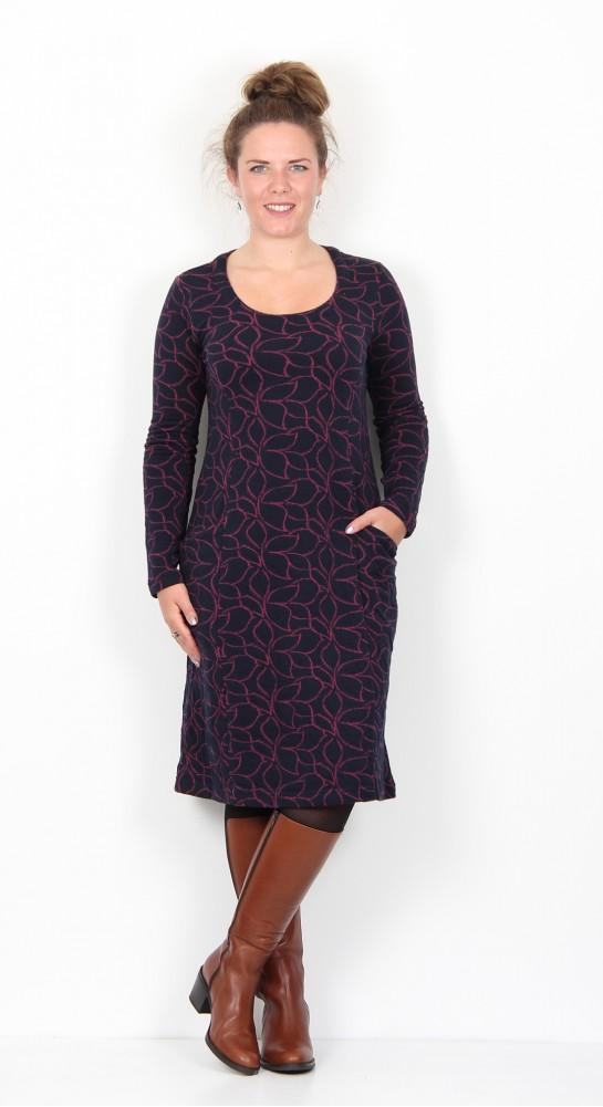 Capri Clothing Pocket Dress Leaf Jacquard Jersey Plum/Navy