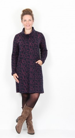 Capri Clothing Leaf Jacquard Jersey Tunic/Dress Plum Navy
