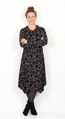Capri Clothing Cowl  Dress Petal Print Black