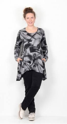Capri Clothing Button Tunic Pines Print Grey