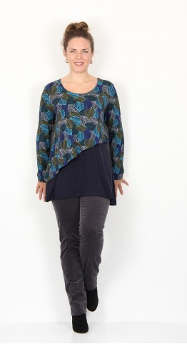 Capri Clothing Double Layer Asymetric Top Woodland Leaf Turquoise Navy
