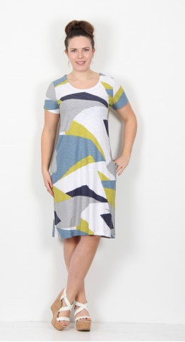 Capri Clothing Anya Print Dress Lime Multi