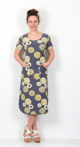 Capri Clothing Stargazer Print Short Sleeve Dress Lemon