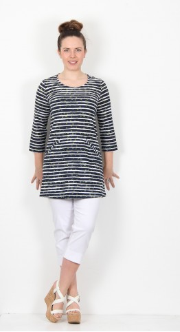 Capri Clothing Halo Stripe Tunic Apple