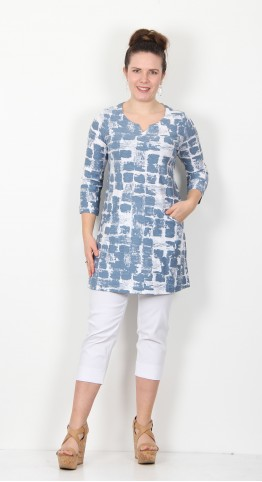Capri Clothing Distressed Paint Print Tunic Duck Egg