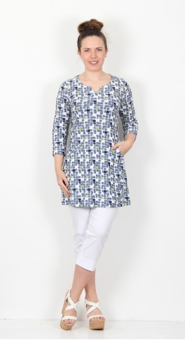 Capri Clothing Mosaic Paint Print Tunic Apple