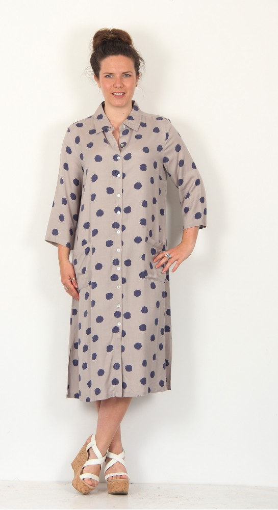 Capri Clothing Brushed Spot Shirt Dress Silver