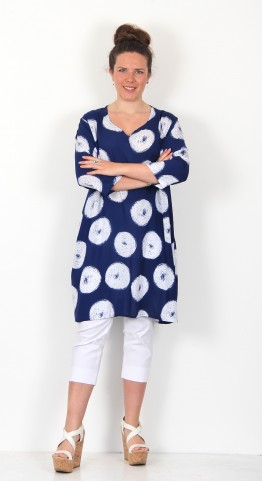 Capri Clothing Scribble Print Notched Neck Tunic Indigo