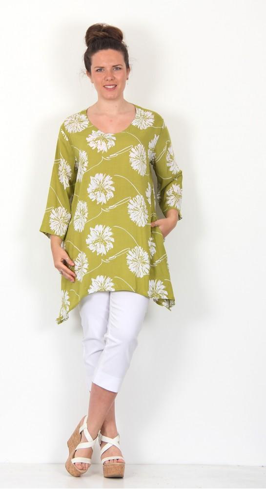 Capri Clothing Dahlia Print Tunic Lime