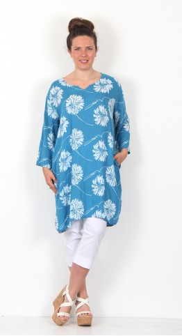 Capri Clothing Dahlia Print Notched Neck Tunic Turquoise