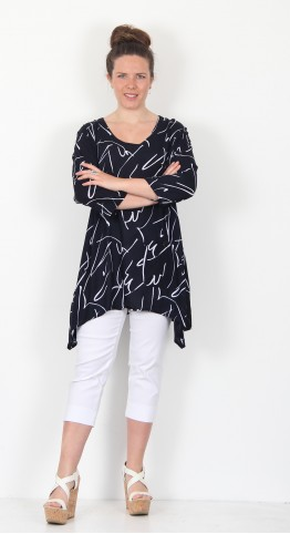 Capri Clothing Painted Lines Print Tunic Navy