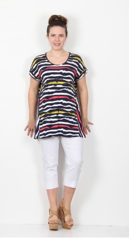 Capri Clothing Ribbon Stripe Print Tunic Navy Multi