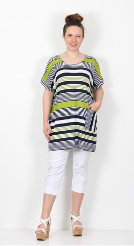 Capri Clothing Rock Stripe Tunic Lime