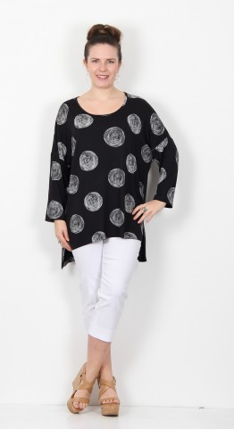 Capri Clothing Moon Print Tunic Black