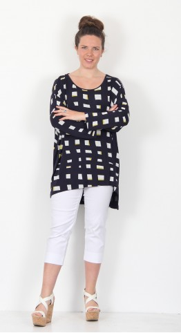 Capri Clothing Tiffin Print Tunic Navy Honey