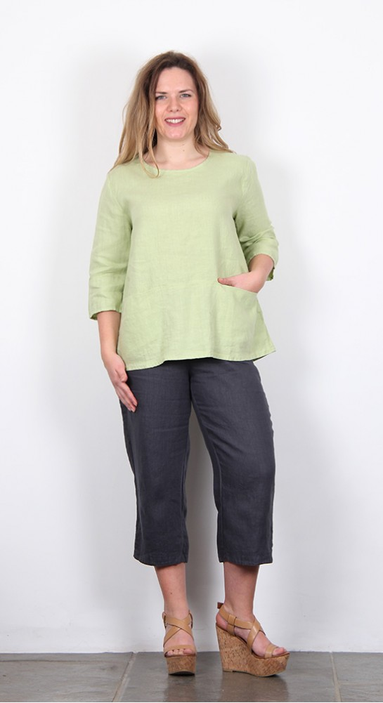 Cut Loose Clothing Linen Pocket Pullover Aphid