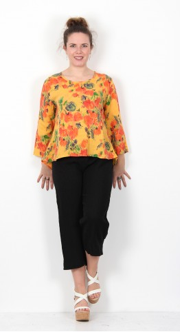 Cut Loose Clothing Flower Print Split Back Top Marigold