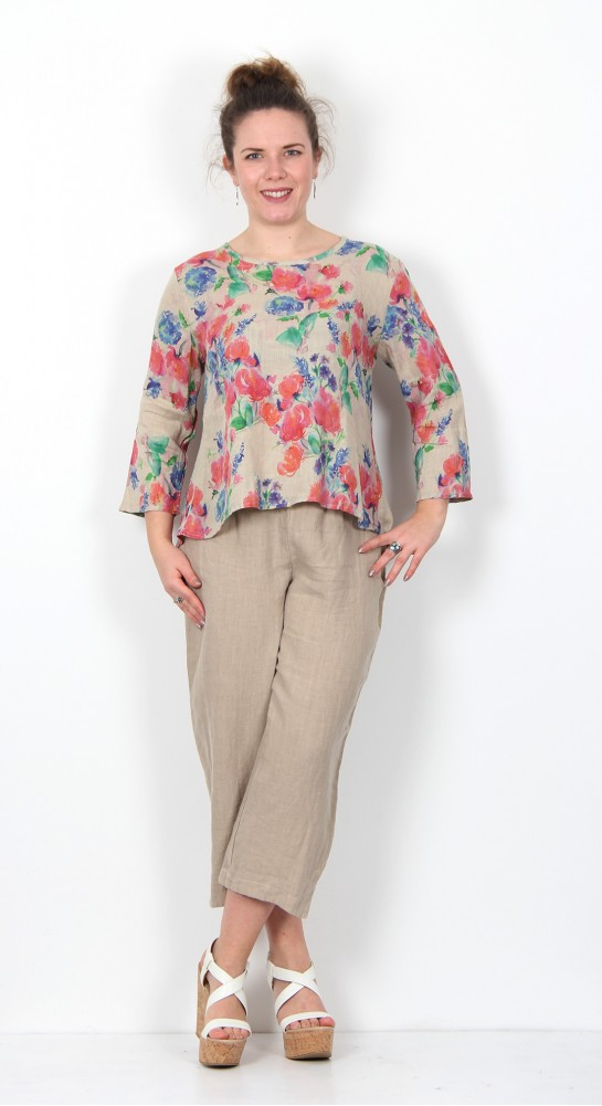 Cut Loose Clothing Flower Print Split Back Top Jute