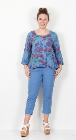 Cut Loose Clothing Flower Print Split Back Top Bay