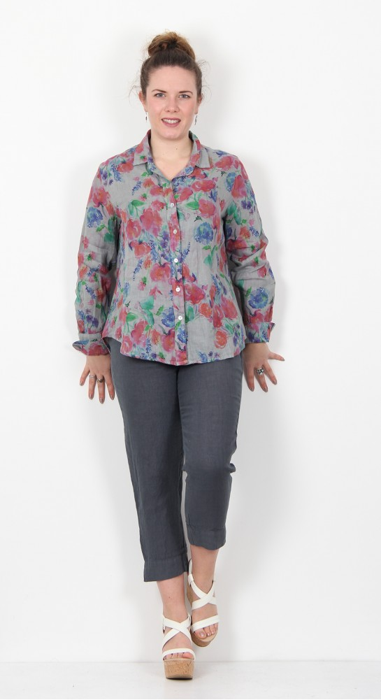 Cut Loose Clothing Flower Print Shirt Overcast
