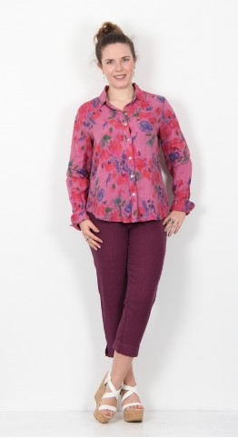 Cut Loose Clothing Flower Print Shirt Rosewood