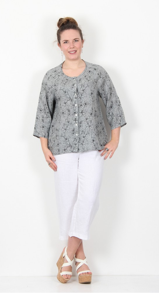 Cut Loose Clothing Collarless Shirt Drawn Flower Overcast