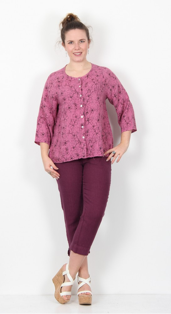Cut Loose Clothing Collarless Shirt Drawn Flower Rosewood