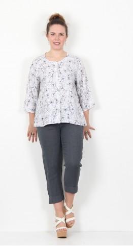 Cut Loose Clothing Collarless Shirt Drawn Flower White
