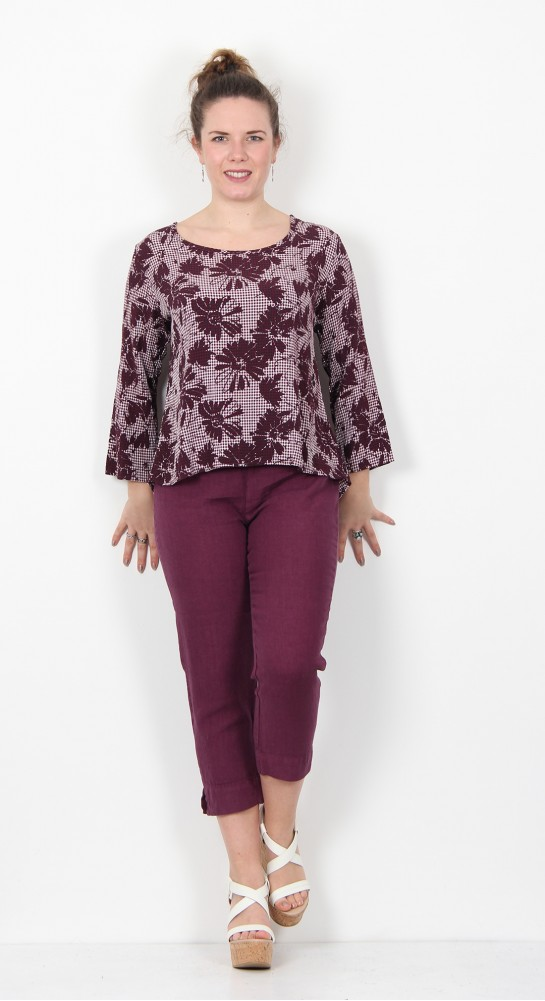 Cut Loose Clothing Floral Gingham Split Back Top Vino
