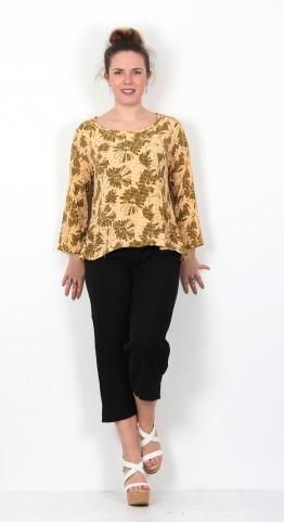 Cut Loose Clothing Floral Gingham Split Back Top Marigold