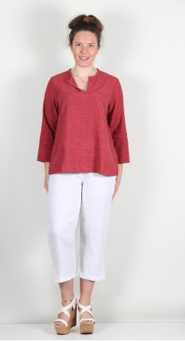 Cut Loose Clothing 3/4 Sleeve Notch Neck Top Heart