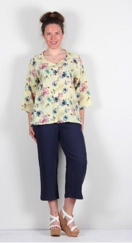 Cut Loose Clothing Collarless Shirt Paint Flower Lemon