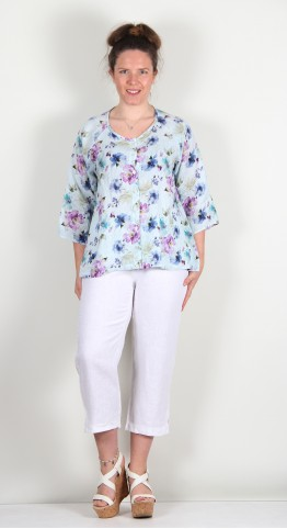 Cut Loose Clothing Collarless Shirt Paint Flower Crystal
