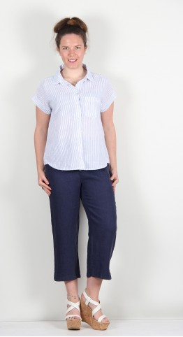Cut Loose Clothing Short Sleeve Placket Shirt White Pinstripe