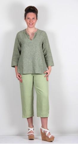 Cut Loose Clothing 3/4 Sleeve Notch Neck Top Absinthe