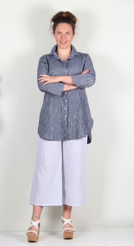 Cut Loose Clothing Crinkle Stripe Shirt Nightsky