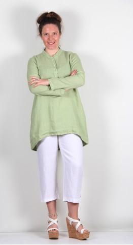 Cut Loose Clothing Henley Fine Linen Tunic Absinthe