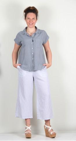 Cut Loose Clothing Short Sleeve Placket Shirt Overcast Pinstripe