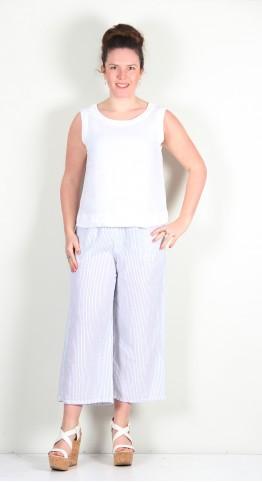 Cut Loose Clothing Easy Crop Pant White Pinstripe