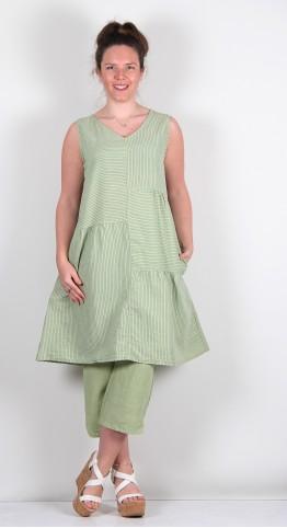 Cut Loose Clothing Patch Dress Absinthe Pinstripe
