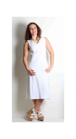 Cut Loose Clothing Draped Neck Dress White
