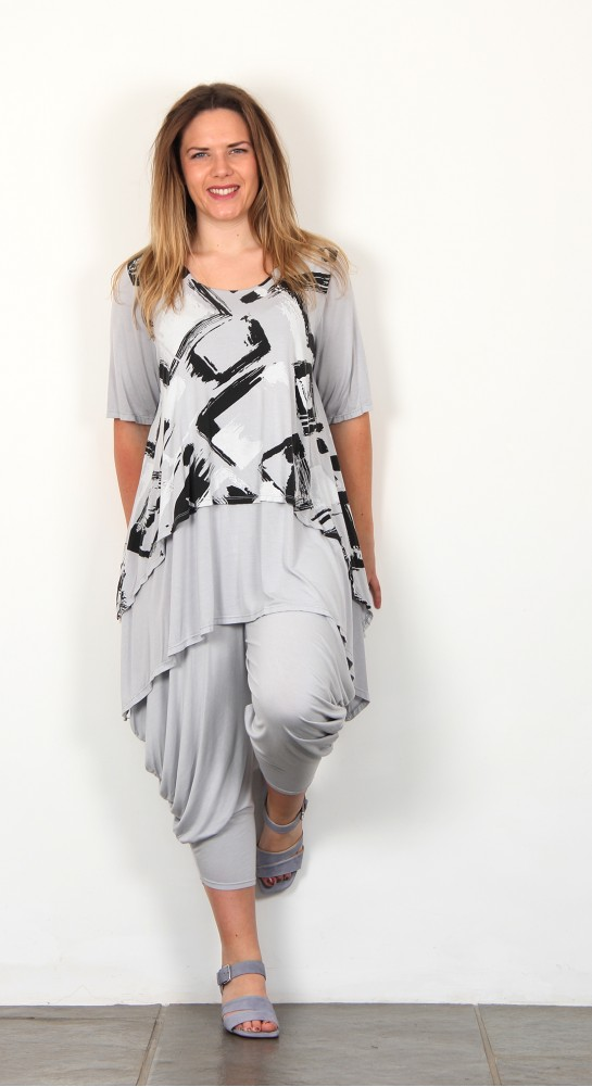 Eden Rock Layered JerseyTunic Grey