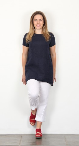 Eden Rock Cap Sleeve Linen Tunic Navy